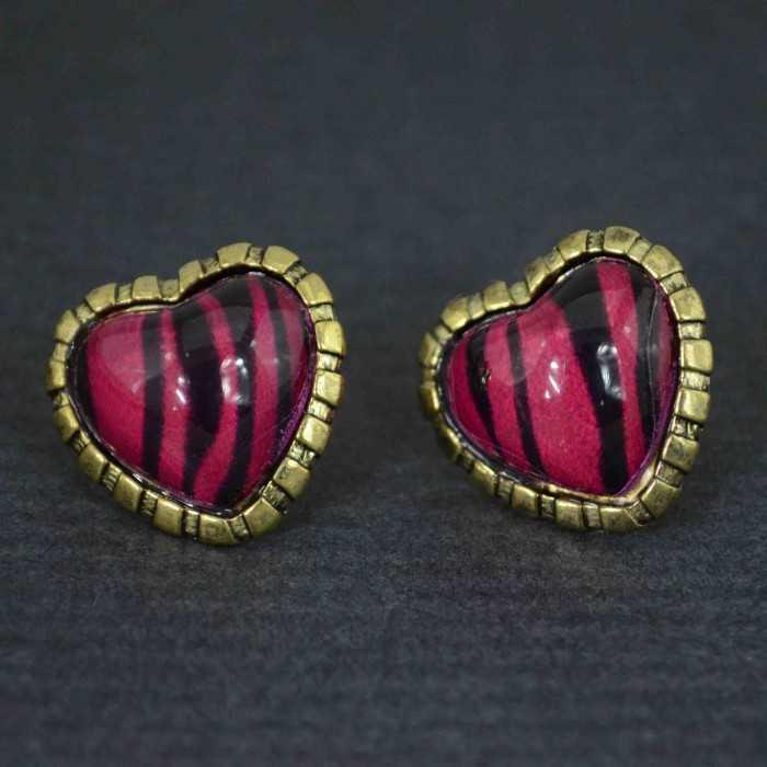 """Boucles d'oreilles fantaisie """"Zebra heart"""" en métal doré et résine"""