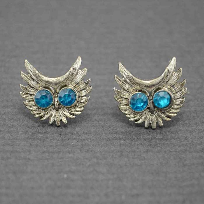 """Boucles d'oreilles fantaisie """"Grand Duc"""" en métal argenté et strass"""