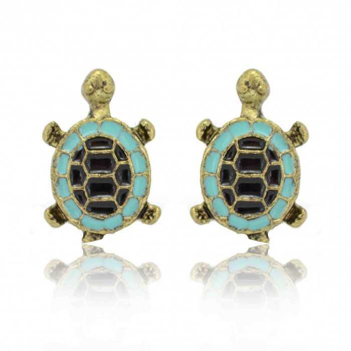 """Boucles d'oreilles """"Turtle"""" en métal doré et émail"""