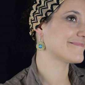 """Boucles d'oreilles fantaisie """"Soleile d'Orient"""" en métal doré"""