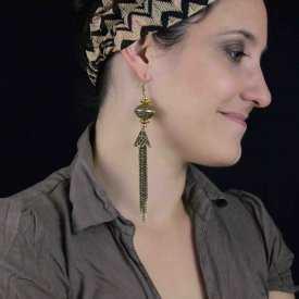 """Boucles d'oreilles """"Pampilles orientales"""" en métal doré vieilli"""
