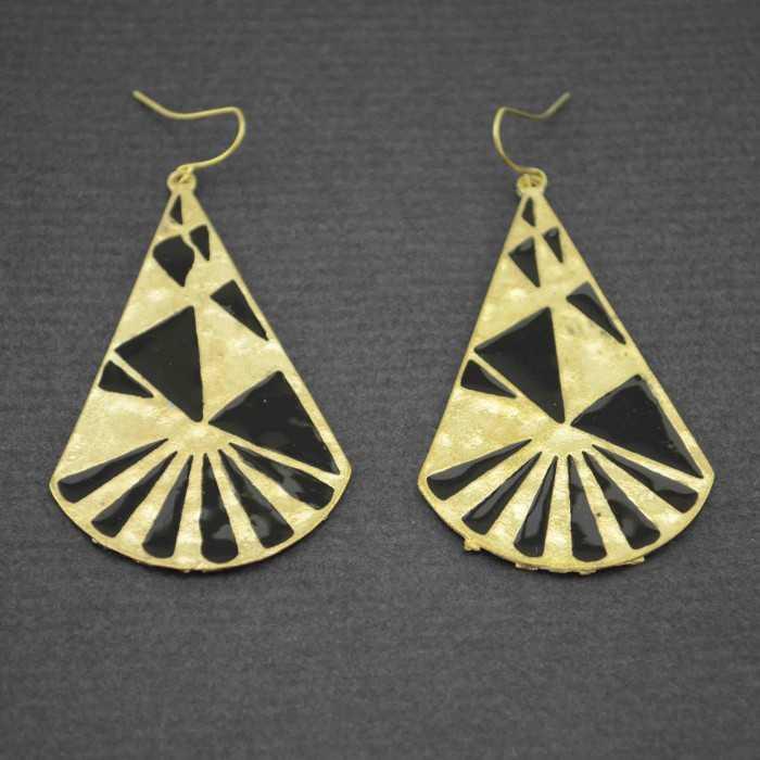 """Boucles d'oreilles fantaisie """"Triangles Mayas"""" en métal doré et émail"""
