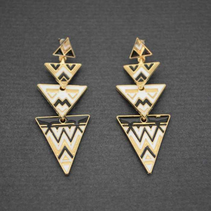 """Boucles d'oreilles """"Légendes Mayas"""" en métal doré et émail"""