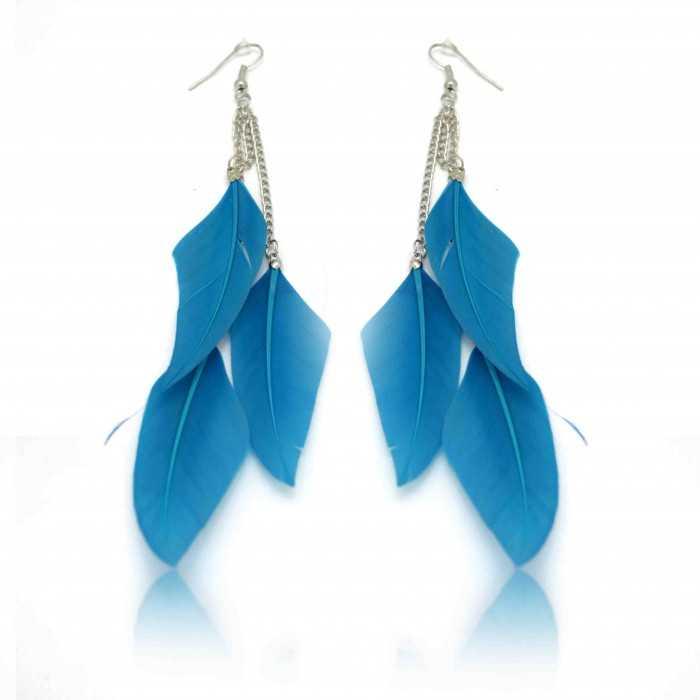 """Boucles d'oreilles fantaisie """"Plume - Summer Blue"""""""
