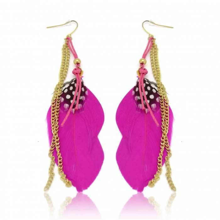 boucles d 39 oreilles fantaisie plume pink element. Black Bedroom Furniture Sets. Home Design Ideas