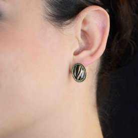 """Boucles d'oreilles """"Gran'Ma"""" en métal doré vieilli est résine"""