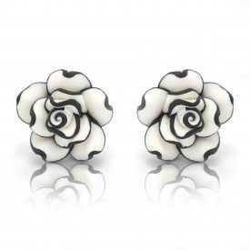 """Boucles d'oreilles """"Sweet Flower"""" en métal argenté et soft ceramic"""
