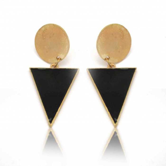 """Boucles d'oreilles fantaisie """"Rond & Triangle"""" en métal doré"""