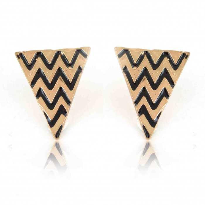 "Boucles d'oreilles ""Triangle Maya"" en métal doré"