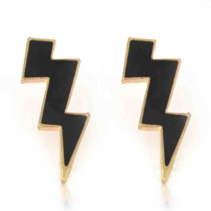 """Boucles d'oreilles fantaisie """"Bolt"""" en métal doré"""