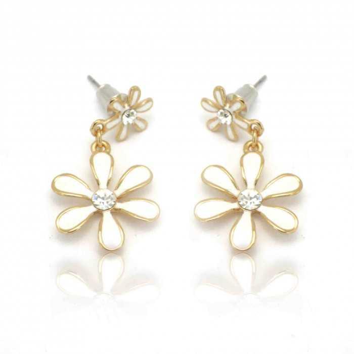 """Boucles d'oreilles """"Hibiscus"""" en métal doré et strass"""