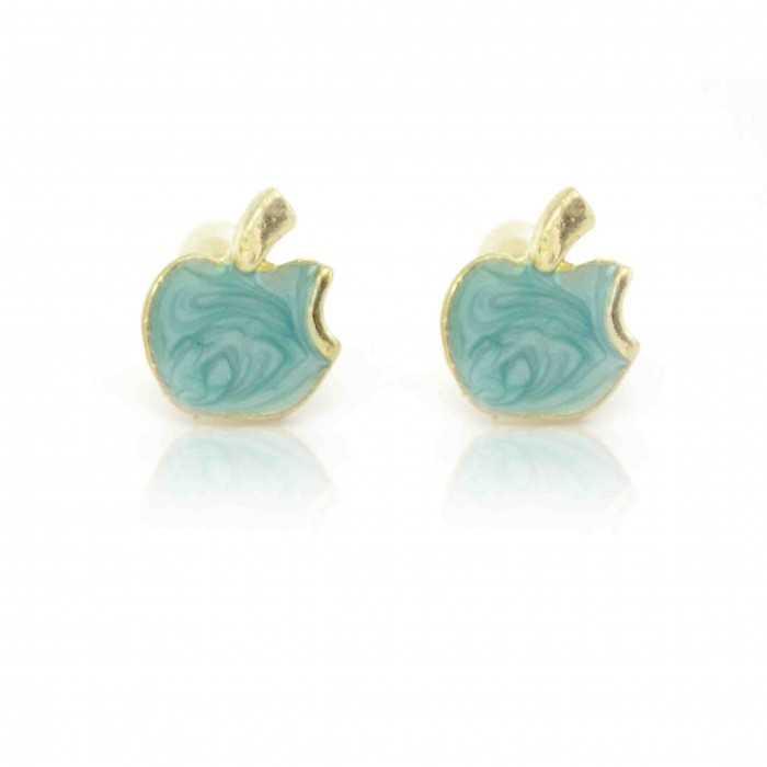 """Boucles d'oreilles fantaisie """"Small Apple"""" en métal doré et émail"""