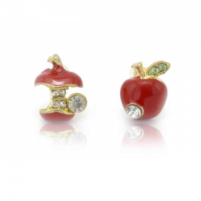 """Boucles d'oreilles """"Pomme d'Api"""" en métal doré, strass et émail"""