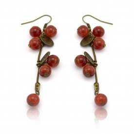 "Boucles d'oreilles fantaisie ""Groseilles"" en métal bronze et perles"