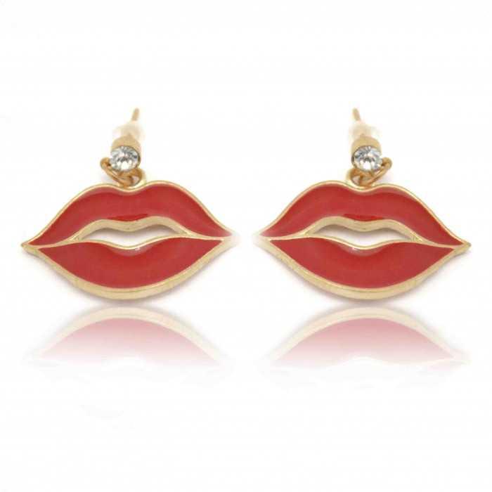 """Boucles d'oreilles """"Lips"""" en métal doré, strass et émail"""