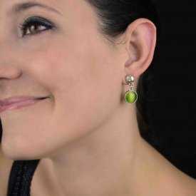 """Boucles d'oreilles fantaisie """"Ikita - Long Glask"""" en métal, strass et verre"""