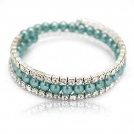 "Bracelet ""Glam"" en perles de synthèse et strass"