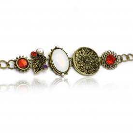 """Bracelet """"Floraison"""" en métal doré vieilli, résine et strass"""