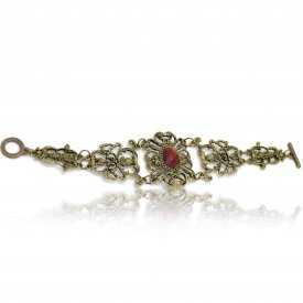 """Bracelet fantaisie """"Retro"""" en métal doré vieilli et résine"""