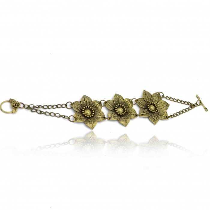 """Bracelet """"Passiflore"""" en métal doré vieilli"""