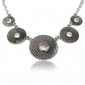 """Collier fantaisie """"Corde"""" en métal argenté"""