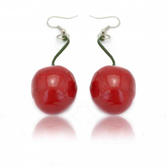"""Boucles d'oreilles fantaisie """"Cherry"""" en mousse expansée vernie"""