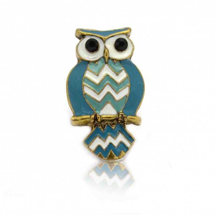 """Bague """"Owl"""" en métal et émail"""