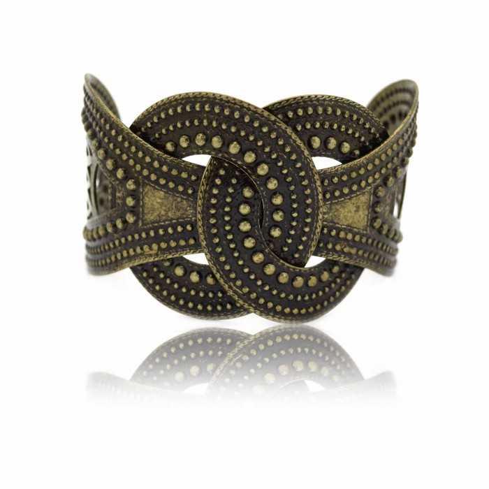 "Bracelet-manchette ""Belt"" en métal bronze vieilli"