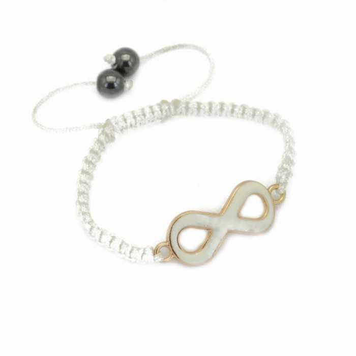 """Bracelet fantaisie """"Always"""" en métal doré, émail et cordon"""