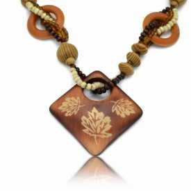 "Collier ""Wood - Carré"" en bois"