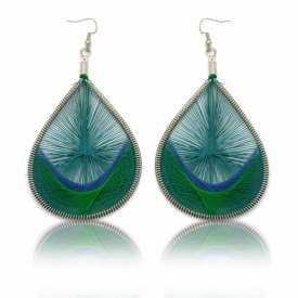 """Boucles d'oreilles fantaisie """"Sur le fil - Colors"""" en métal argenté et fil"""