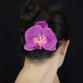 """Pince à cheveux """"Grosse Orchidée"""" en tissu"""