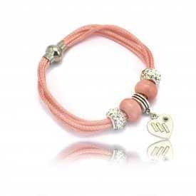 """Bracelet """"Sang"""" en métal argenté et cordon"""