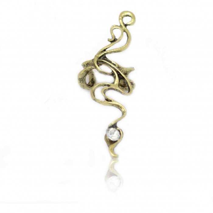 "Boucles d'oreilles ""Serpentin"" en métal doré vieilli et strass"