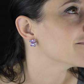 """Boucles d'oreilles fantaisie """"Galaxy"""" en métal et strass"""