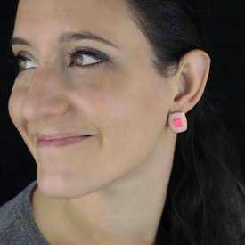"""Boucles d'oreilles """"Carré Coloré"""" en métal et émail"""