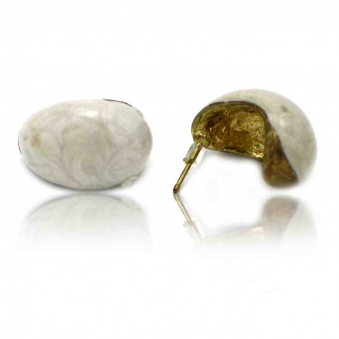"""Boucles d'oreilles fantaisie """"Oil Galet"""" en métal et émail"""