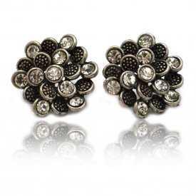 """Boucles d'oreilles fantaisie """"Strass Dahlia"""" en métal argenté et strass"""