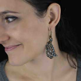 """Boucles d'oreilles """"Shiny Peacock"""" en métal et strass"""