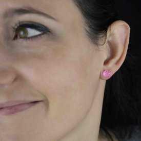 """Boucles d'oreilles fantaisie """"Puces - Bonbon"""" en métal et résine"""