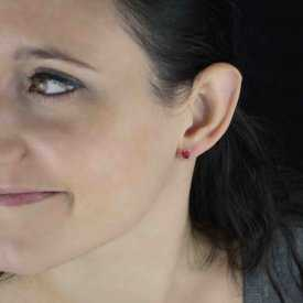 """Boucles d'oreilles fantaisie """"Puces - 5mm"""" en strass"""