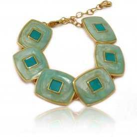 """Bracelet fantaisie """"Carré Coloré"""" en métal et émail"""