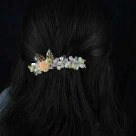 """Barrette """"Nature"""" en perles et résine"""