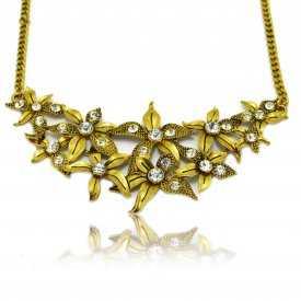 """Collier fantaisie """"Poinsettia"""" en métal doré et strass"""