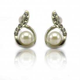 """Boucles d'oreilles """"Élégance"""" en métal argenté et perle de synthèse"""