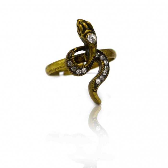 "Bague ""Snake"" en métal doré et strass"