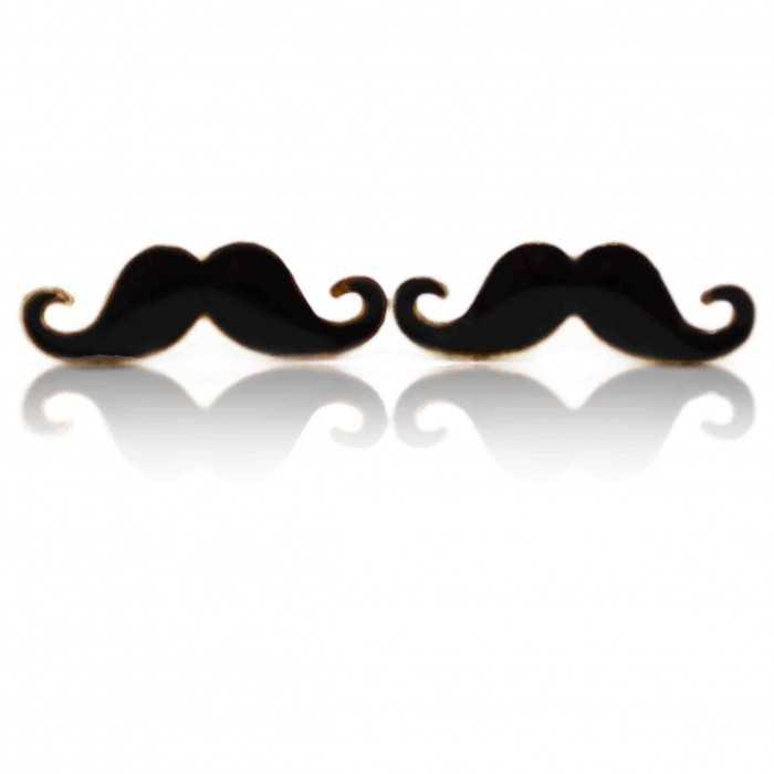 """Boucles d'oreille """"Moustache"""" en métal doré et émail"""