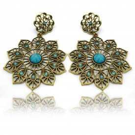"""Boucles d'oreilles orientales """"Turkey"""" en métal doré, strass et résine"""
