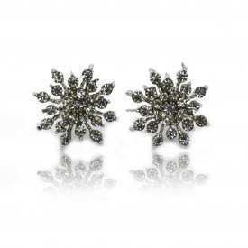 """Boucles d'oreilles fantaisie """"Orion"""" en métal argenté et strass"""