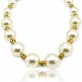 """Collier fantaisie """"Grosses Perles"""" en métal doré, strass et perles de synthèse"""